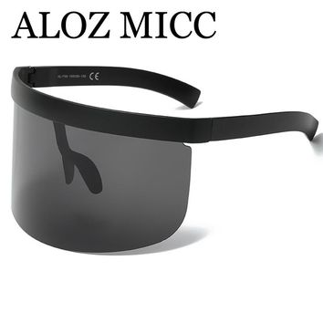 ALOZ MICC Luxury Oversize Shield Visor Sunglasses Women Unique Rimless Vintage Men Flat Top Shades Color Eyewear UV400 Q142