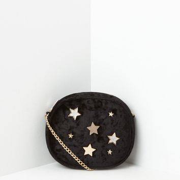 Missguided - Black Velvet Star Badge Cross Body Bag