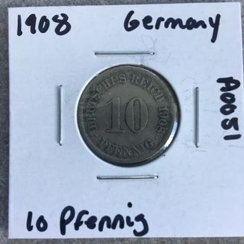 1908 German Empire 10 Pfennig Coin A0051
