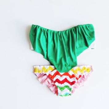 Vintage Ruffle Bandeau Sunsuit Bikini .DiVa straples top Emerald Green Chevron aztec ruffle panties for Sunbathing. Sexy and cute All cotton