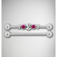 14 Gauge Clear Pink Cubic Zirconia Industrial Barbell 2 Pack