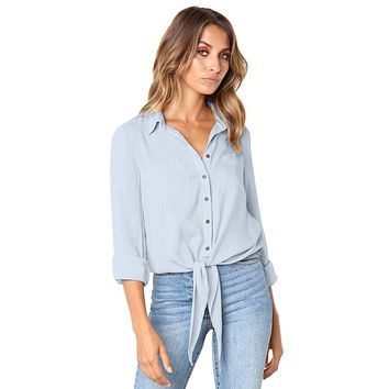 Sapphire Crushed Linen Button-Down Casual Shirt