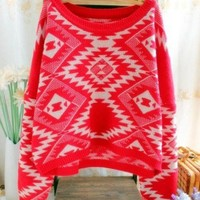 Red Retro Pullovers Bat Sleeve Sweater