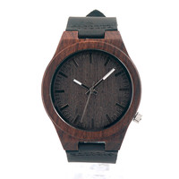 Bamboo/Leather Watch - Dark