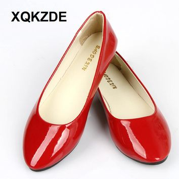 XQKZDE 2018 PU Leather Point Toe Women Casual Spring Summer Cand edd386804a