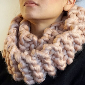 Made in Norway, Autumn Winter Soft Super chunky knit wool beige caramel infinity cowl scarf (SC00008)