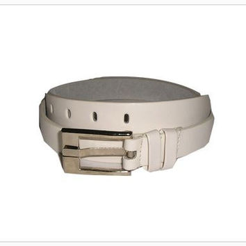 Vintage WHITE Men's Italian Leather Belt Chrome Buckle M & L (two available) - New Old Stock, never used