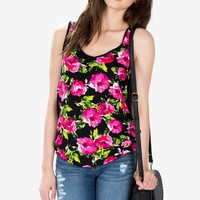 Floral Surplice Back Tank