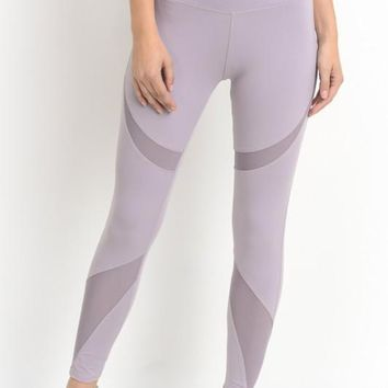 Lilac Mesh Leggings
