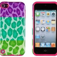 DandyCase 2in1 Hybrid High Impact Hard Tri Color Leopard Pattern + Pink Silicone Case Cover For Apple iPod Touch 5 (5th generation) + DandyCase Screen Cleaner