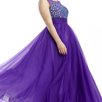 Long High Neck Open Back Formal Gown