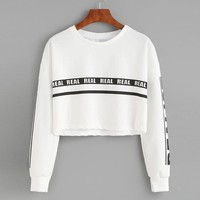 2018 Women Autumn Winter Long Sleeve Loose Short Hoodies Crop Tops Letter Print Casual Outwear Pullover Sweatshirts Ropa Mujer
