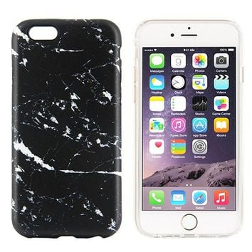 Black Marble Stone Print Tough Protective iPhone XS Max Case Galaxy S8 plus S7 Edge SE Snap Case 227