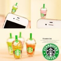 Amazon.com: 1 x StarBucks Frappuccino Ice Coffee Cell Phone Charm 3.5mm Anti Dust Earphone Jack Plug iphone 4 4S (No 1): Cell Phones & Accessories