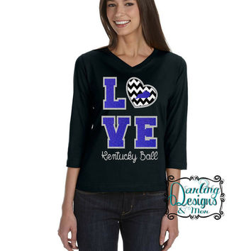 Darling Kentucky Love V-Neck Long Sleeve with Glitter and Chevron