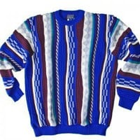 Blue Textured Cosby Style Tacky Ugly Sweater Men's Tall Size 3XL (3XLT) XXXLT