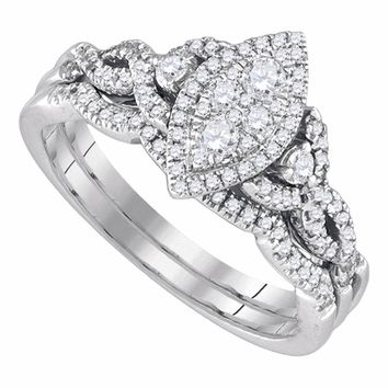 14k White Gold Round Diamond Marquise-shape Cluster Womens Wedding Bridal Ring Set 1/2 Cttw