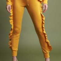 High Waisted Ruffled Sides Jogger Pants