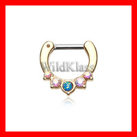 Opal Gold Septum Clicker Ring Aurora Borealis Golden Opal Precia Cartilage Earrings Nipple Ring Circular Barbell Tragus Jewelry Helix Conch