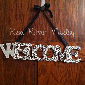 Welcome Door Hanger, Wooden Word, Housewares, Welcome Sign