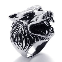 KONOV Jewelry Vintage Biker Wolf Head Stainless Steel Men's Ring, Size 10