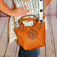 Monogram Crossbody Purse/ tote handbag / monogram bag pocketbook in tawny