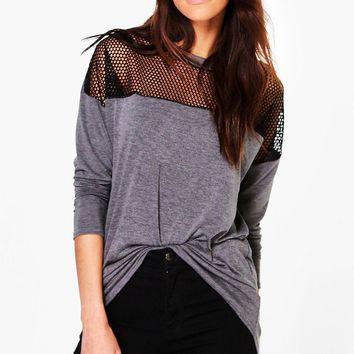 Hailey Fishnet Mesh Long Sleeve Jersey T-Shirt | Boohoo