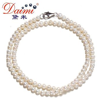 [DAIMI] White/Pink/Purple Colorful Real Pearl Necklace Simple Jewelry Nice Gift For Girl CHA-CHA
