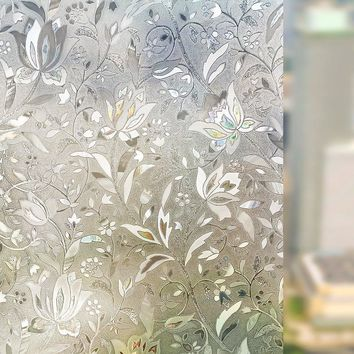 New Liplasting 3D Self Adhesive Frosted Stained Sticker Glass Static 100X45cm  PVC Decorative Window Film Home Privacy Decor