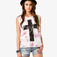 Floral Cross Muscle Tee | FOREVER 21 - 2048019047