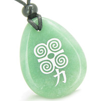 Amulet Supernatural Energy Power Magic Kanji Green Quartz Pendant Necklace