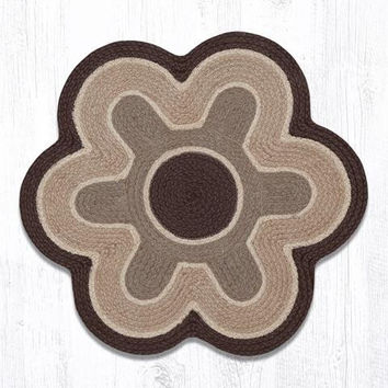 "Black/Natural Flower Shaped Jute Rug. 27"" x 27"""
