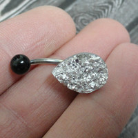 Teardrop Silver Druzy Belly Button Jewelry Ring