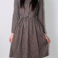 Vintage 1970s taupe paisley floral print long sleeve button down full skirt belted midi dress
