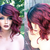 USA // Human Hair BLEND Short Bob Wine Red Swiss Lace Front & PART Wavy Wig w/ Dark Root