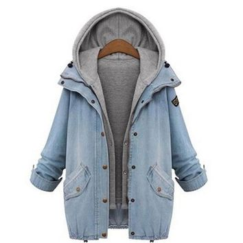 New Fashion Winter Jacket Women Two Piece Set Denim Jacket Hooded Plus Size Oversized Casual Women Coat Outwear Light Blue