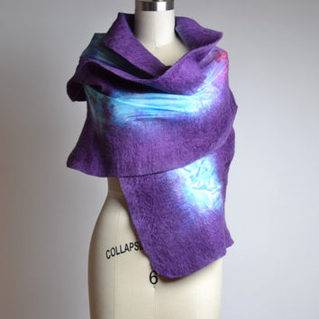 Nuno Felted Scarf - Merino Wool Felted Scarf - Purple Felted Scarf - Merino Wool Silk Scarf - Spring Scarf - Mother's Day Gift