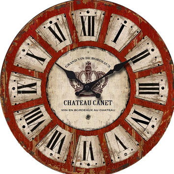Cheap Vintage Modern Wall Clock Roman Numerals Red Large Decorative Big Antique Wooden Wall Clock Home Decor Retro Clock