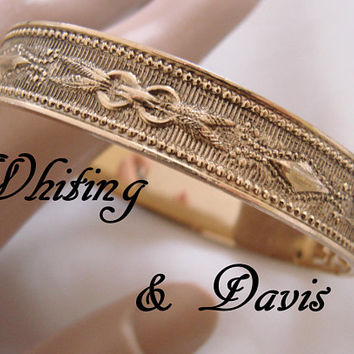 Vintage Whiting & Davis Bangle Bracelet / Textured / Etched / Gold Tone / Embossed / Jewelry / Jewellery