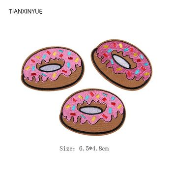 TIANXINYUE 20pcs/lot Donuts patches badges for clothing iron embroidered patch applique iron sew on Diy sewing accessory