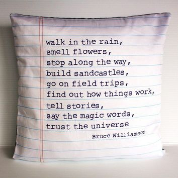 decorative pillow POEM cushion, Organic cotton poem cushion, printed on notebook fabric, 16inch, cushion cover, pillow, cushion