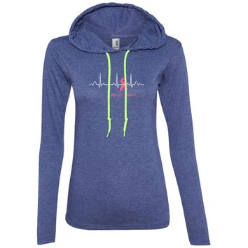 Breast Cancer Heartbeat with Pink Ribbon 887L Anvil Ladies' LS T-Shirt Hoodie