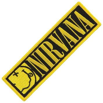Nirvana Men's Smiley Strip Embroidered Patch Yellow