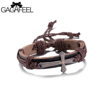 GAGAFEEL Women Men's Bracelets Cross Charm Cuff Bracelets Bangles Genuine Leather Wrist Jewelry Lace Up Rope Chain Wrap Bangle