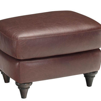 Color Customizable Leather Ottoman Basento by Natuzzi Editions