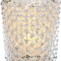 Luna Bazaar Vintage Mercury Glass Candle Holder (3-Inch, Diamond Motif, Silver) - For Use with Tea Lights - For Home Decor, Parties, and Wedding Decorations