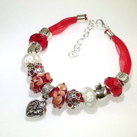 European Charm Beaded Leather Friendship Bracelet - Red Heart