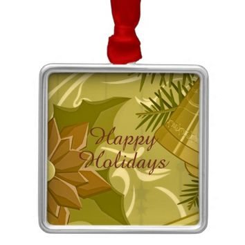 Abstract Golden Green Christmas Square Ornament