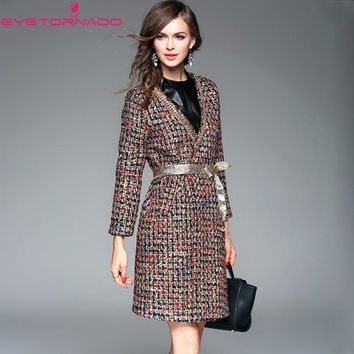 2017 Women coat autumn winter fashion chains patchwork lurex casual wool blends tweed coat outwear casaco pink korean style 7026