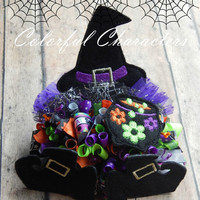 Trick or Treat smell my feet, halloween themed bow, oversized witch hat, shoes, and cauldron feltie, ready to ship